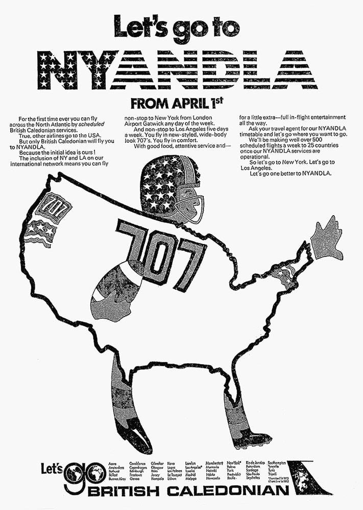 British Caledonian, Gatwick to New York & Los Angeles, 1 April 1973