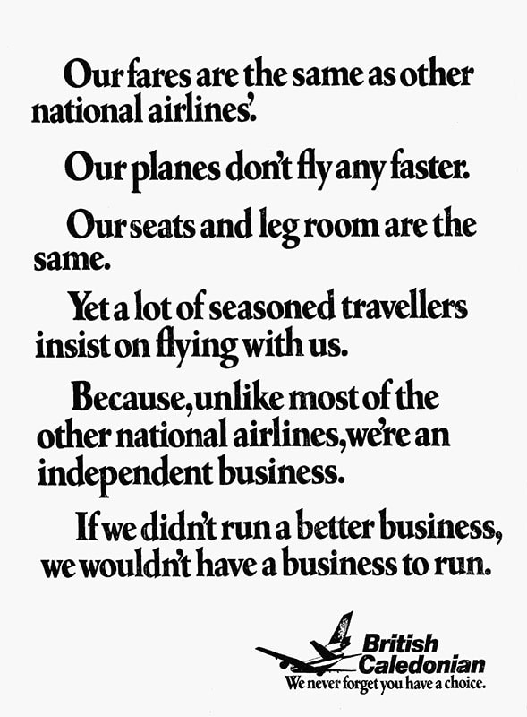 """""""We never forget you have a choice"""" British Caledonian, 1977"""