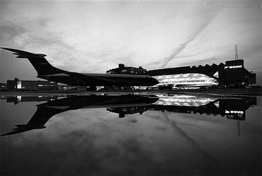 VC10 aircraft outside its hangar at Heathrow Airport.