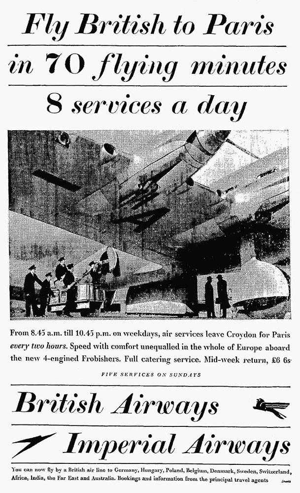 Advertisement for British Airways & Imperial Airways Services To Paris