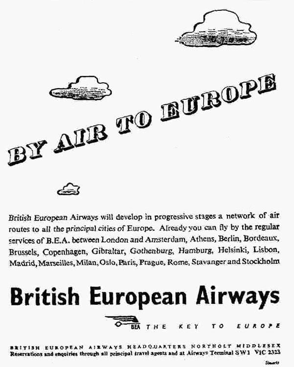 Advertisement for British European Airways, September 1946