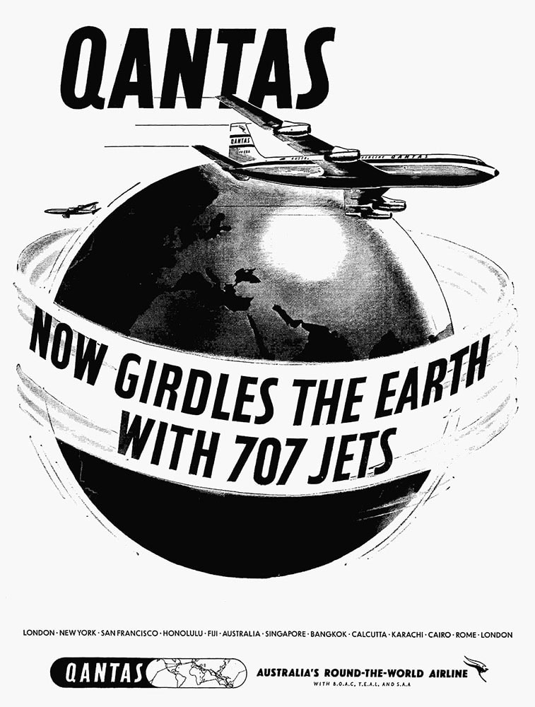 Poster for Qantas Boeing 707 Jets Around The World, October 1959