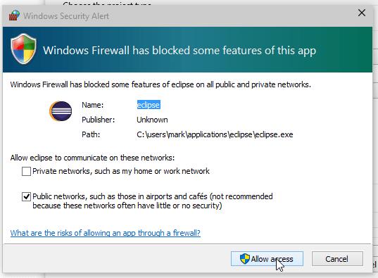 Windows 10 Eclipse Firewall Request Screenshot