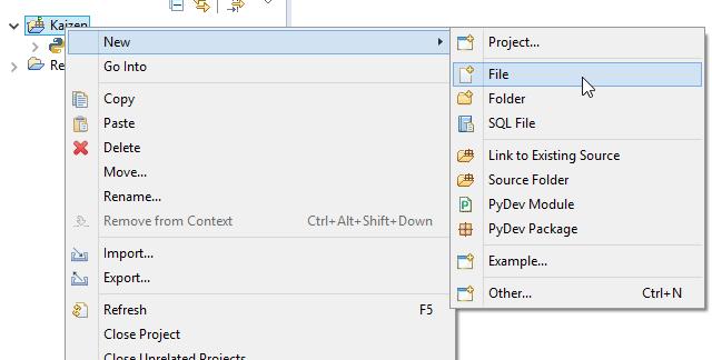 Windows 10 PyDev new file screenshot