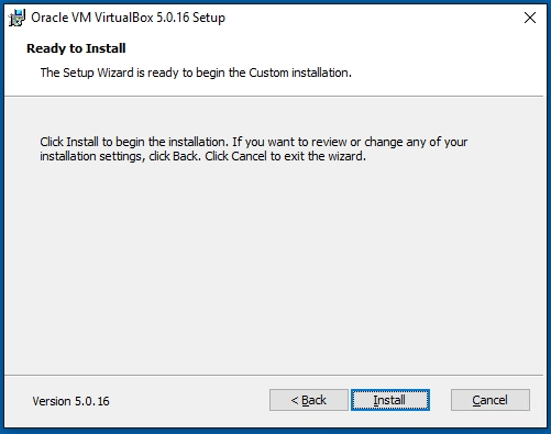 VirtualBox Ready to Install Screen