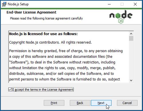Node.js end-user license agreement
