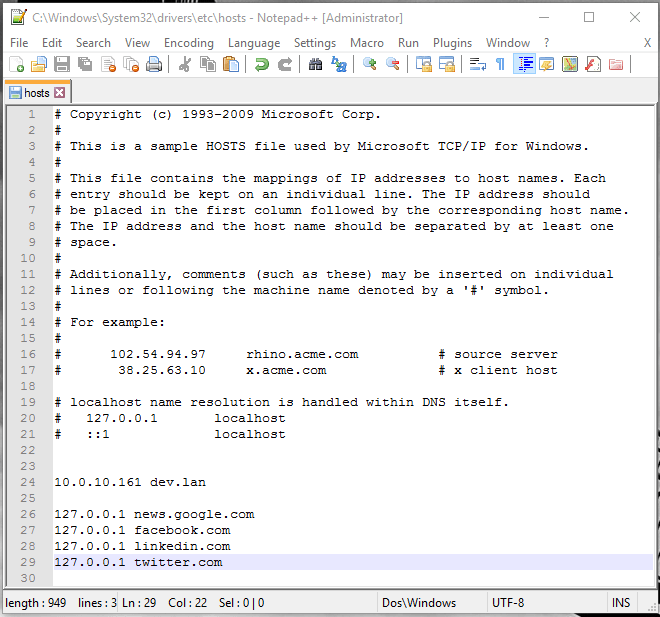 Hosts file example