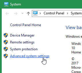 Screenshot of clicking Advanced system settings from within the system menu