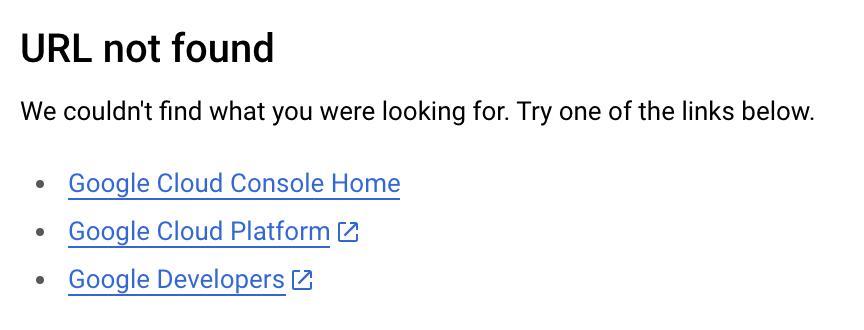Screenshot of URL not found screen