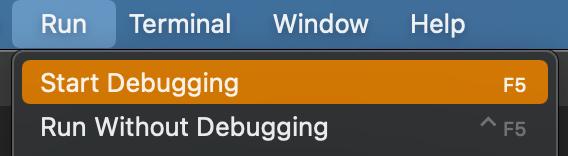 Screenshot of Start Bugging option under Run.