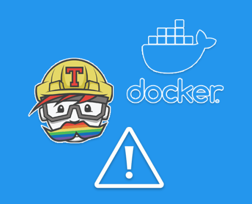 Docker and Travis CI logos with a caution sign