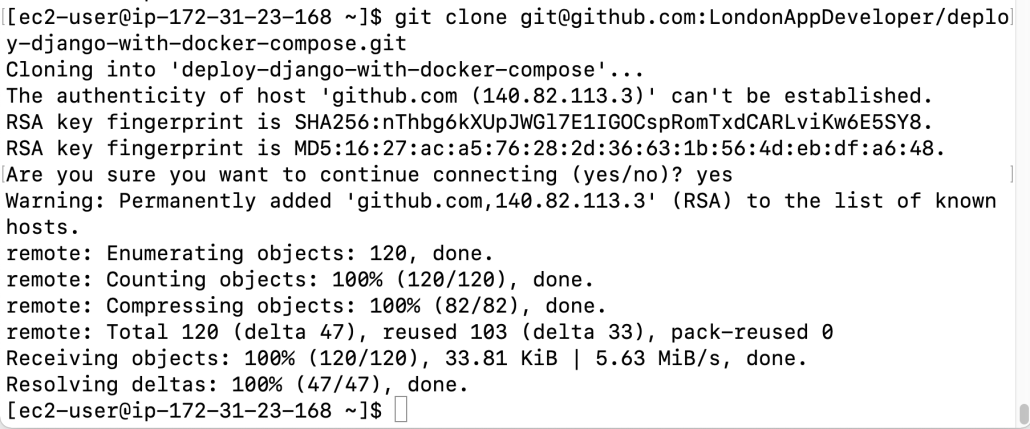Screenshot of cloning Git project to server.