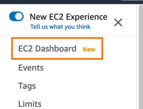 Screenshot of the EC2 dashboard.