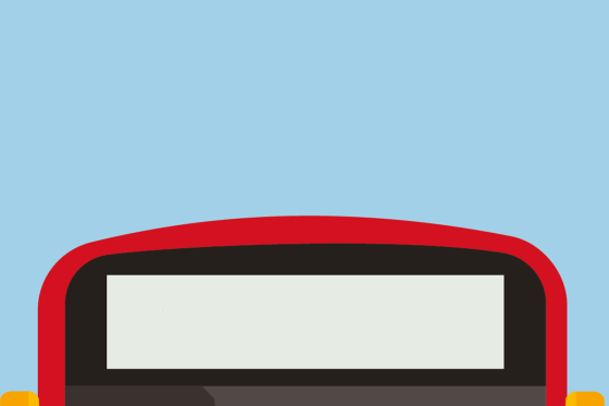 Cartoon of the top of a red London Bus against a blue sky