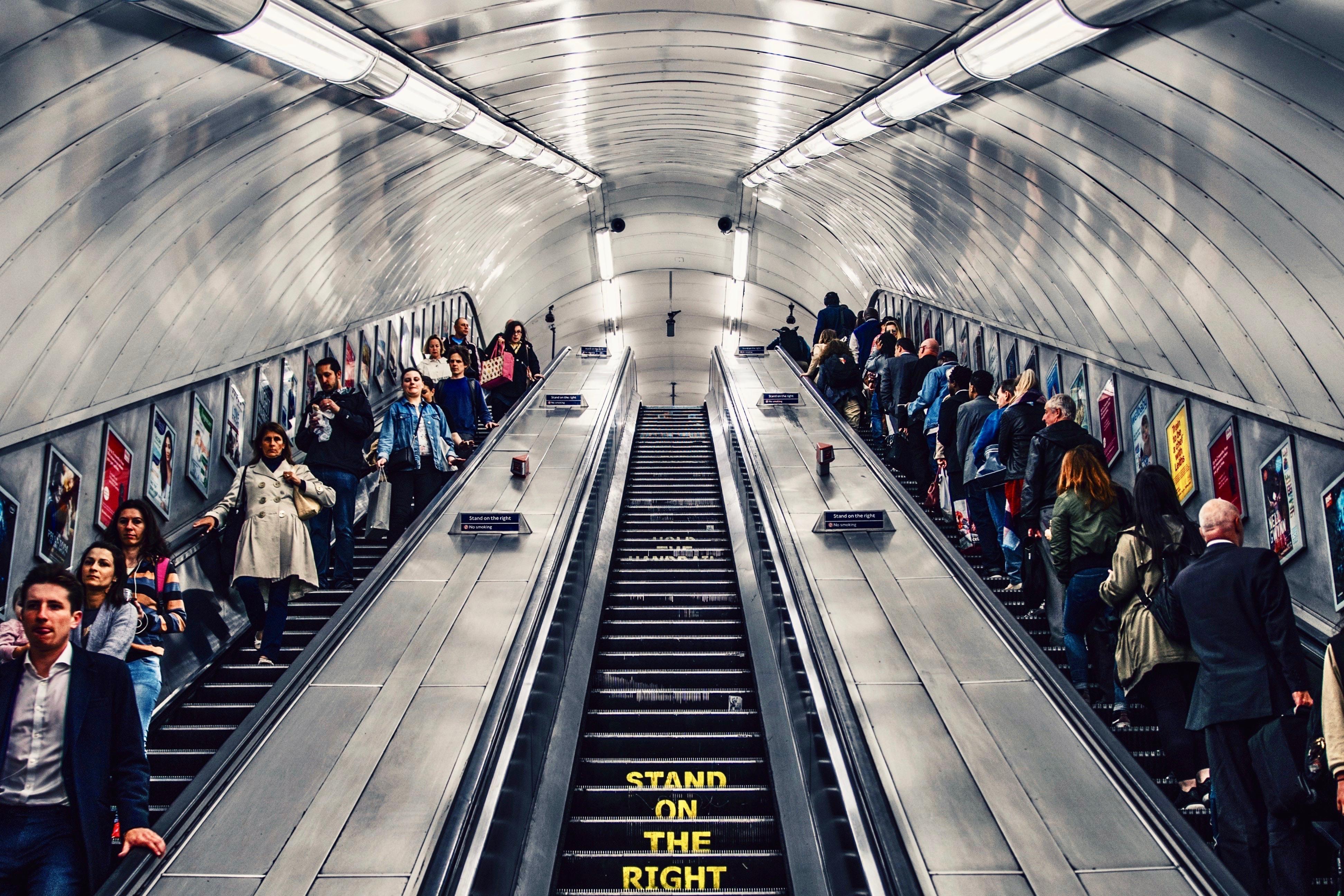 People on the London Underground Escalators