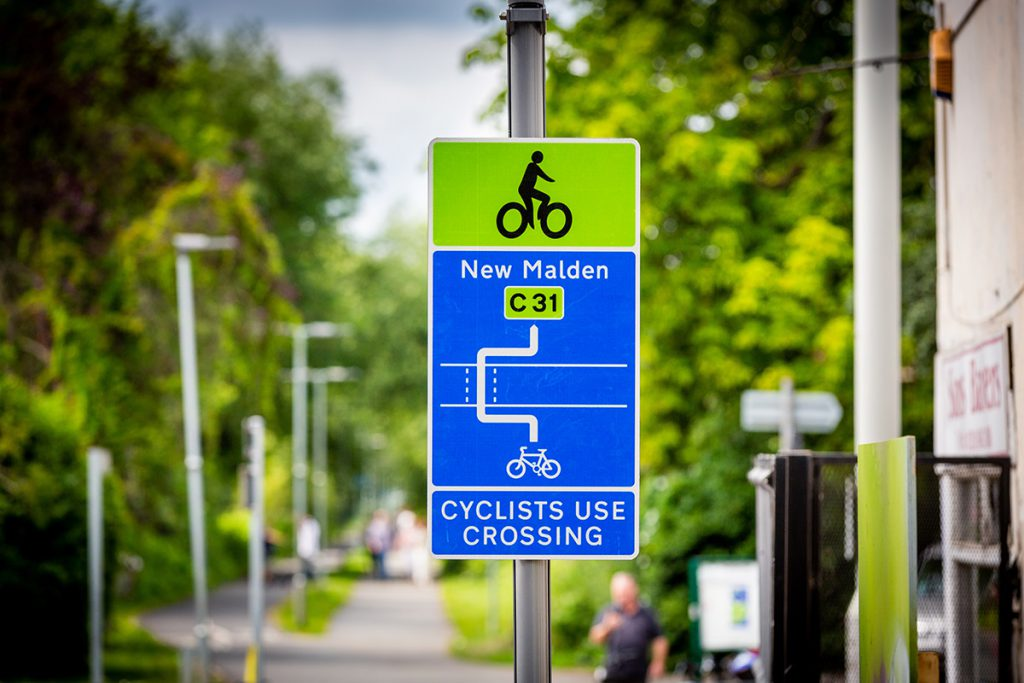 Road sign Cycleway 31 opens from New Malden to Raynes Park