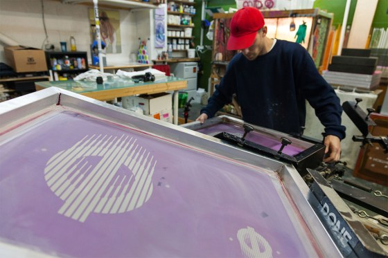 Screen printing in the Done London studio