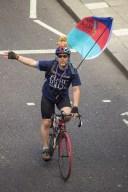 Cyclist on the embankment.