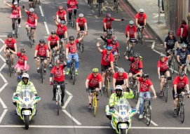 James Blunt (bottom right) Cycles on the embankment.