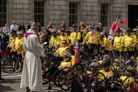 Cyclists on Whitehall during the ceremony.
