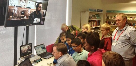 Newham children playing an online match against a school from Sunrise, Florida.