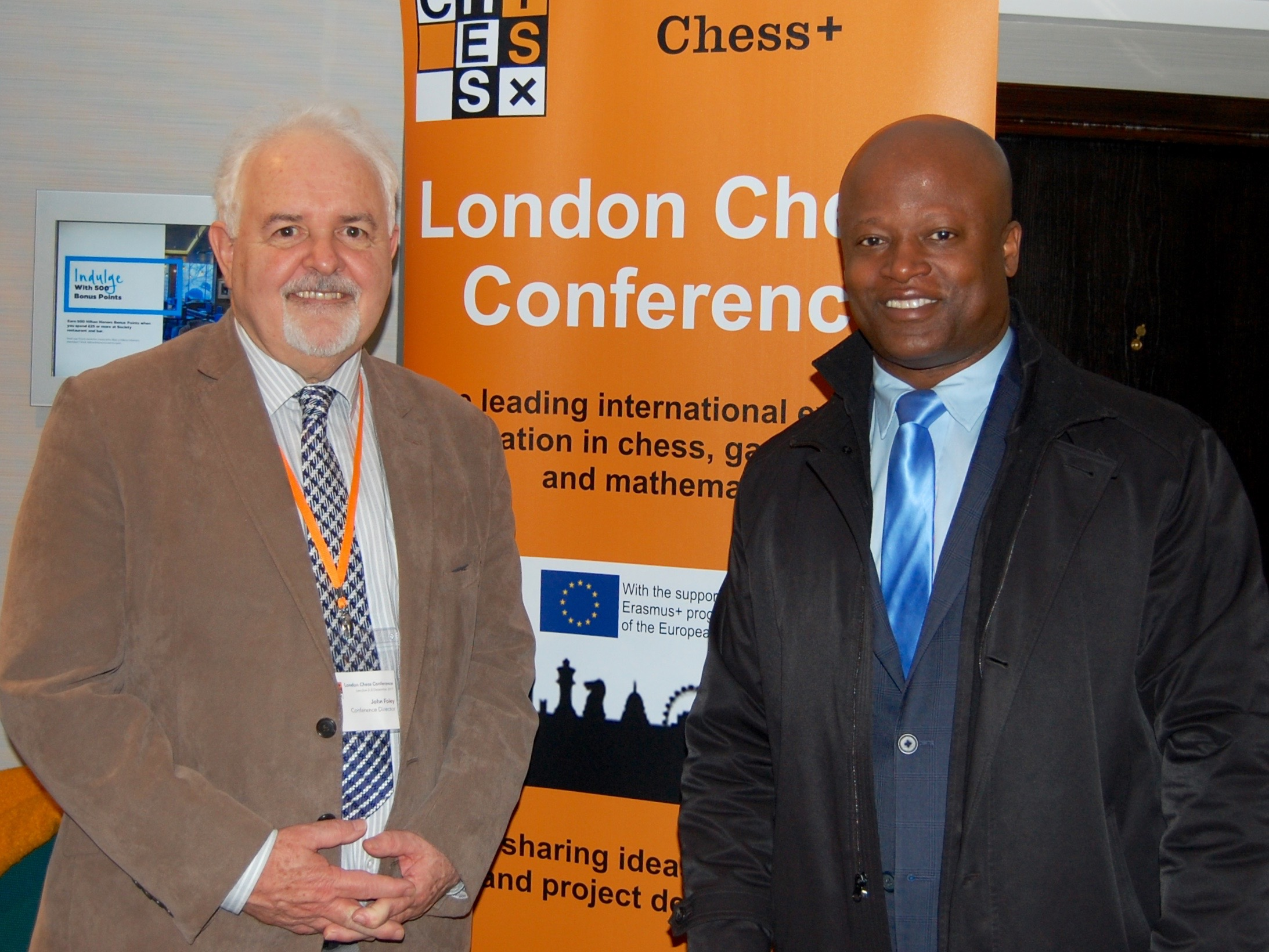 Conference Director John Foley and Grandmaster Maurice Ashley during the London Chess Conference