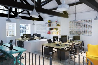 London Interior Office Visualisations by Alberto Battaglia / MB Visualisation
