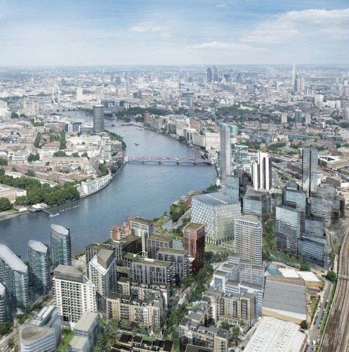 View of the River Thames at Nine Elms, looking east.  Photo credit: Ballymore Group