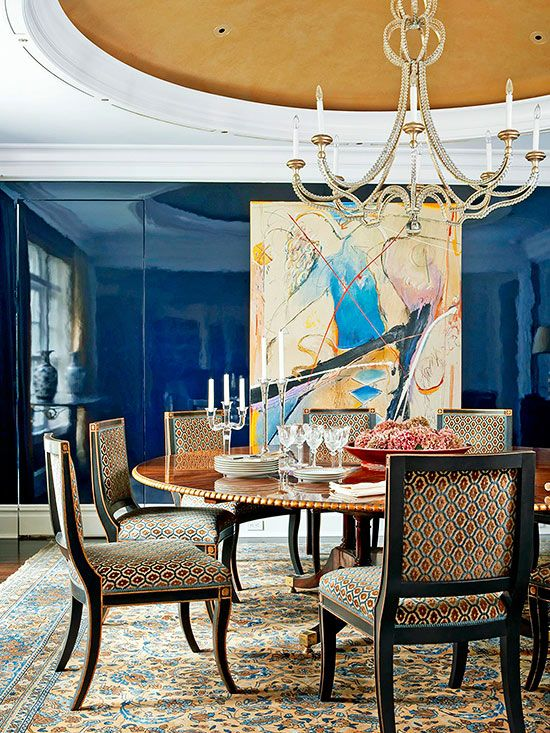 Rich Blue Gloss Painted Walls & Chandelier