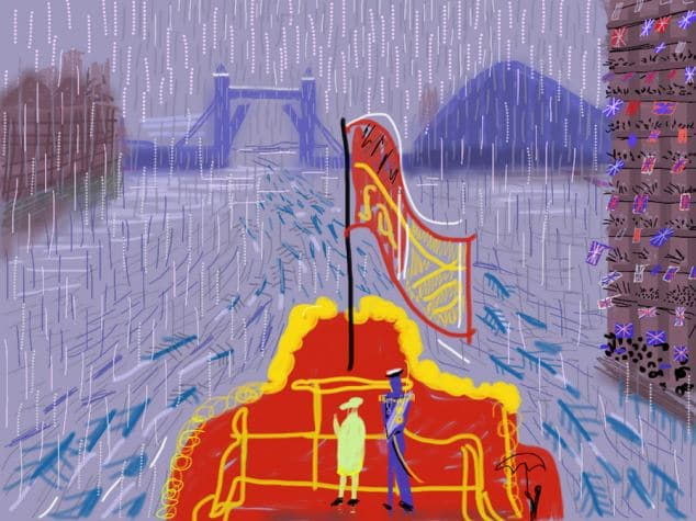 """The Queen and Prince Philip on The Spirit of Chartwell in the rain at the Thames River Pageant on Sunday 3 June 2012 by David Hockney - title """"The End Of The Regatta"""" June 2012 Mail On Sunday exclusive"""