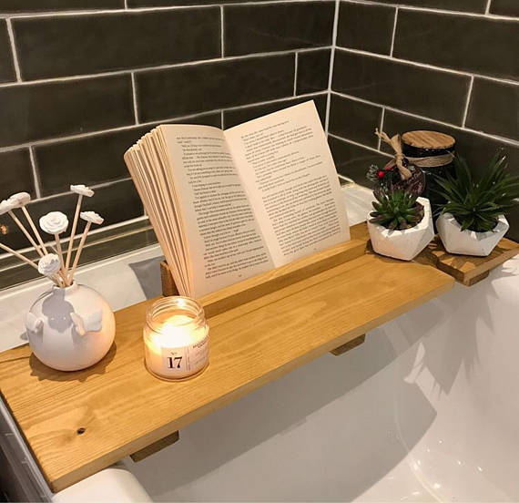 How to turn your bathroom into a home spa - Bath Caddy - By Rustic Retro Furniture - Via Etsy