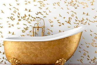 How To Turn Your Bathroom Into A Golden Oasis - Gold Coloured Bath - Image From Cutting Edge Stencils