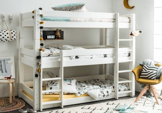 Benefit Of A Good Bed For Kids - Flair Furnishings Scandinavia Triple Bunk Bed - Image From BedKingdom.co.uk