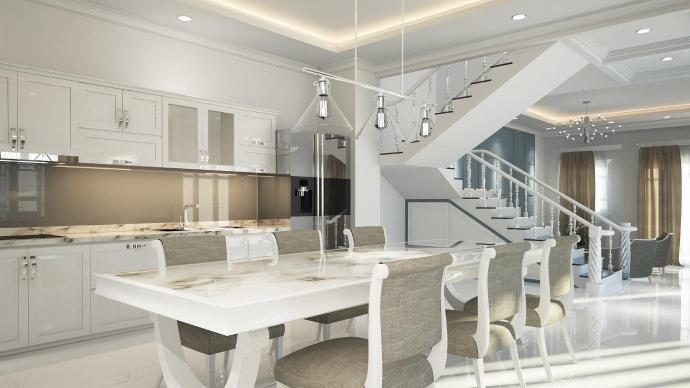 White dining room and kitchen