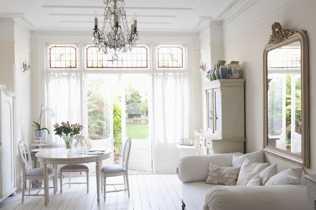 Rustic Home, French Door, Chandelier Lighting In Living Room