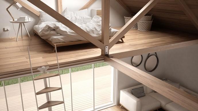 Loft bedroom in small flat