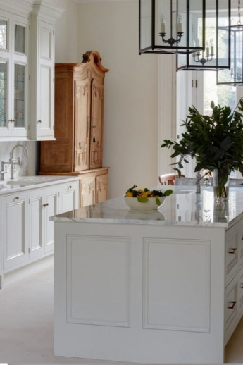 Stylish White Kitchen, With Pine Storage Cupboard and Kitchen Island