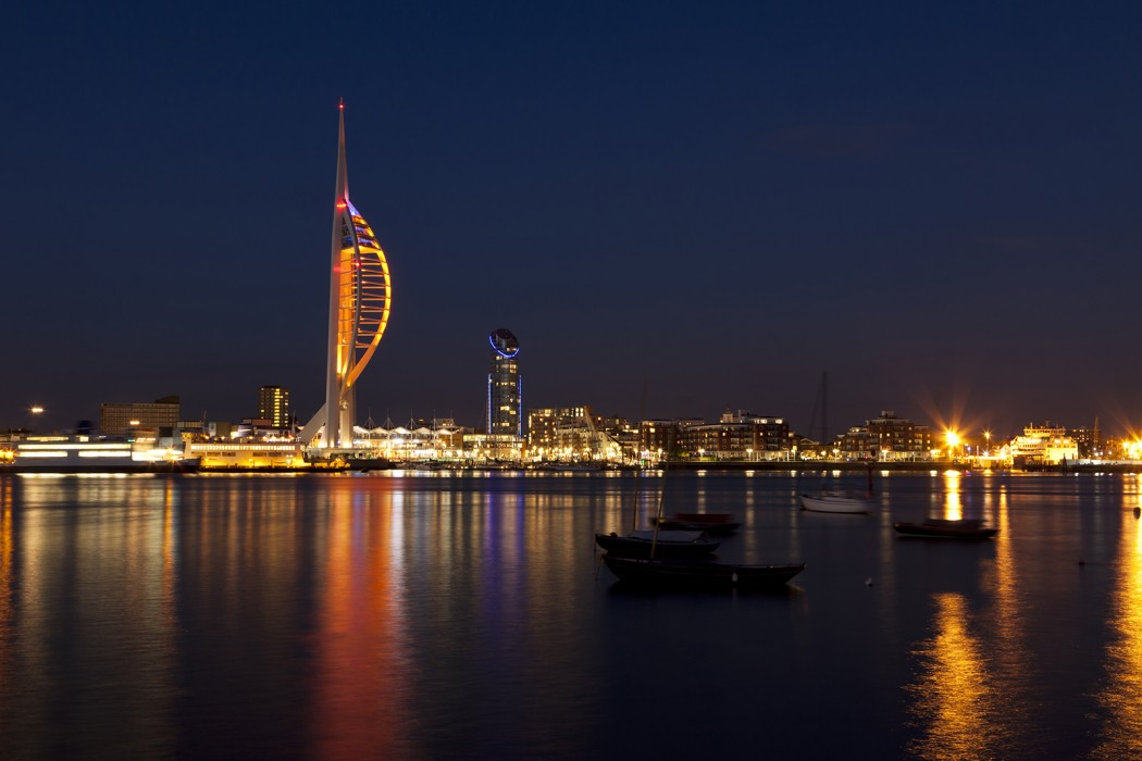 Portsmouth waterfront at night with famous Spinnaker Tower