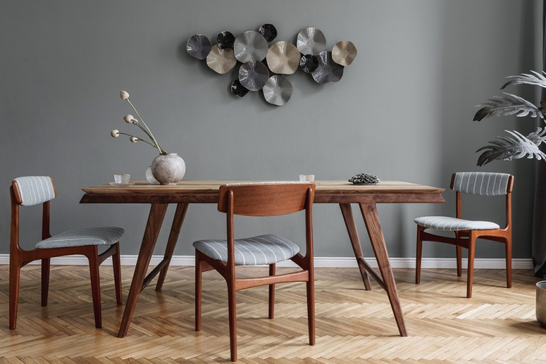 Wooden Herringbone Wooden Flooring in Dining Room with Wooden 70s Table & Chairs