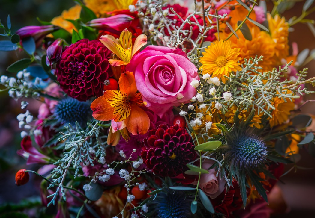 Beautiful, vivid, colorful mixed flower bouquet