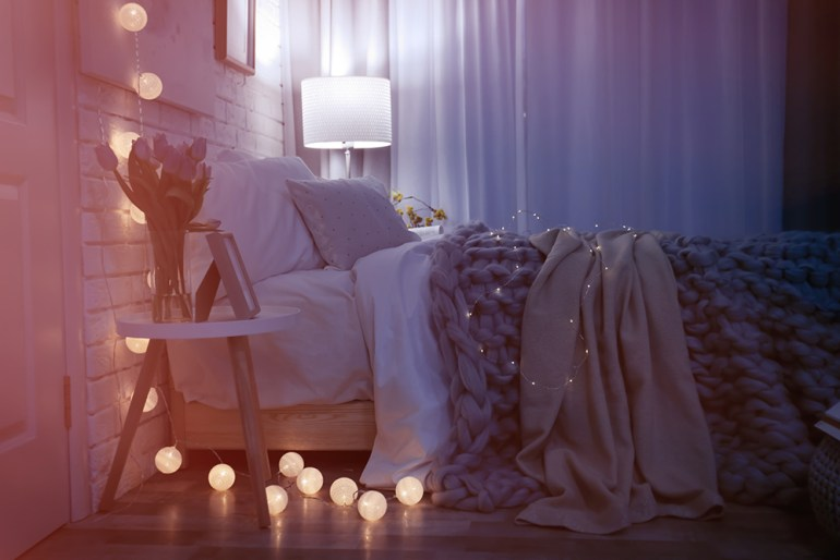 Cosy bedroom with fairylights