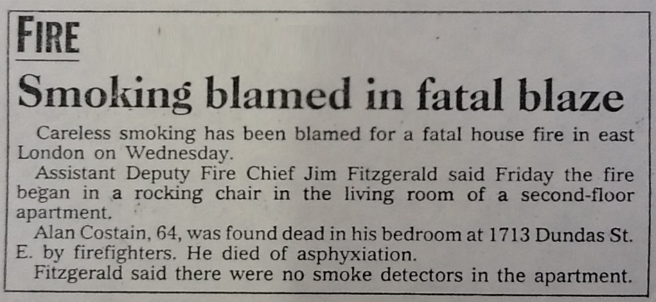 London Free Press Article - Smoking blamed in fatal blaze