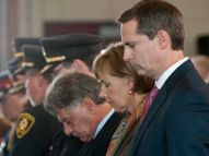 Ontario Premier Dalton McGuinty listens to speeches at a memorial for 21 London firefighters who have died in the line of duty at the London Fire Department Memorial Headquarters on Horton Street on Sunday September 11th, 2011. Family and friends of the fallen firefighters gathered to celebrate their memory as well as to remember those who lost their lives in the World Trade Centre collapse in New York City in 2001. CRAIG GLOVER The London Free Press / QMI AGENCY