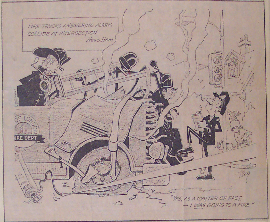 Ting Editorial cartoon of firemen talking with police officer at an accident scene