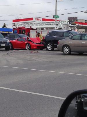 Scott RN ‏@greenfather69 Ouch! That's gunna hurt! #accident #Ferrari #LdnOnt wonderland & Oxford, reduced lane oxford EB