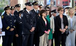 London Firefighters observe a moment of silence with his wife Melisa and children Lauren, 4, Luka, 7, and Julian, 6, l-r, during a ceremony to remember firefighters who died in the line of duty at London Fire Station No.1 on Sunday September 11, 2016. The ceremony is held annually on September 11 to remember the firefighters who died in the World Trade Tower attacks on September 11, 2001. MORRIS LAMONT/THE LONDON FREE PRESS /POSTMEDIA NETWORK