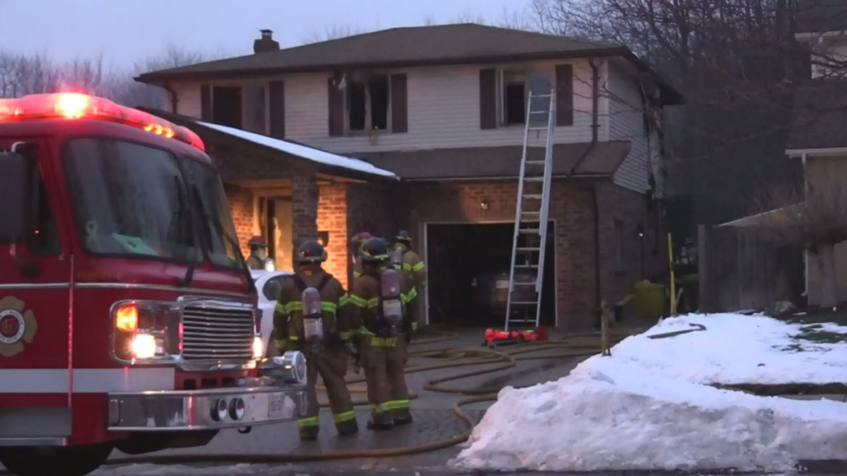 Fire gutted a home on Country club Lane in south London on Monday, Jan. 2, 2017.
