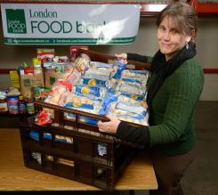 Jane Roy at the London Food Bank which is marking its 30th year in London, Ontario. Photo taken on Thursday April 6, 2017. MORRIS LAMONT/THE LONDON FREE PRESS /POSTMEDIA NETWORK