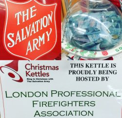 Jenny @J_Swarty 10 Dec 2015 @LPFFA is all over London today volunteering for The Salvation Army Christmas Kettles, Come visit! #GivingHopeToday