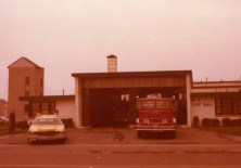 A typical Saturday morning at old Station 2. On the ramp is Car 2 ( 1975 Chev wagon ) and Engine 2 ( 1968 Int/KingSeagrave 840/500 ) May 1976